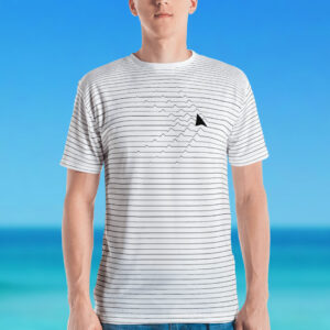Shark thin ripples men's crewneck T-shirt
