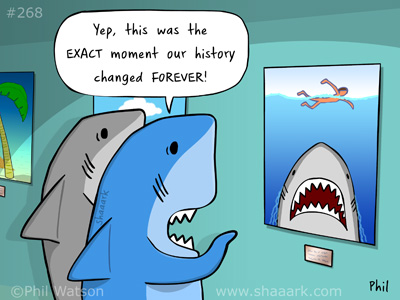 Shark cartoon jaws history