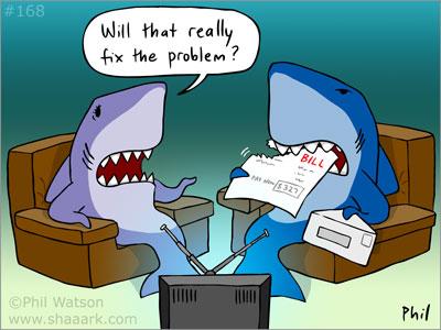 Shark eating bills