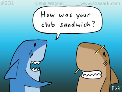 Shark cartoon club sandwich