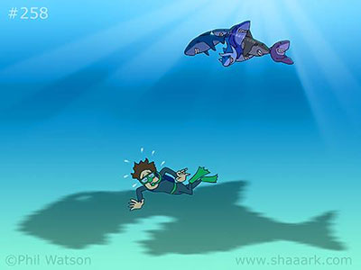Shark cartoon teamwork shadow