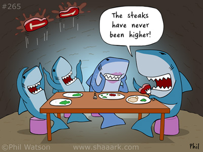 shark cartoon steaks high