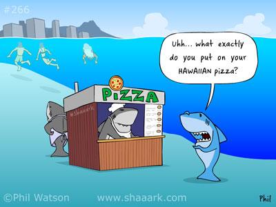shark cartoon hawaiian pizza