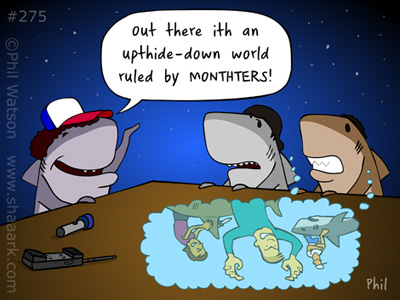 Shark cartoons stranger things