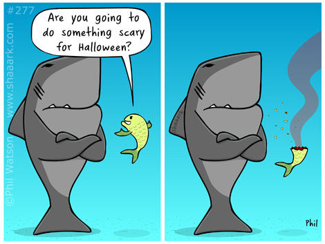 Shark cartoon scary Halloween