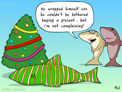 Shark cartoon Christmas wrap
