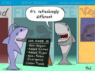 Shark cartoon vegan cafe