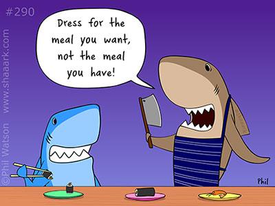 Shark cartoon dress for the meal you want