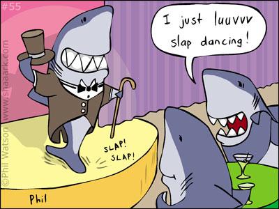 Shark cartoon slap dancing