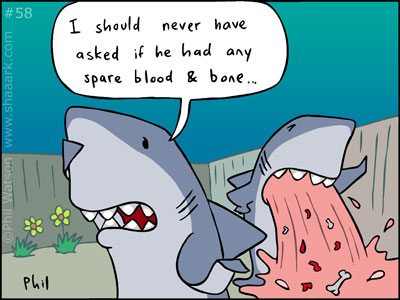 Shark cartoon blood and bone
