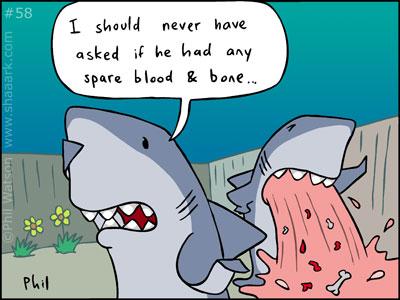 Shark cartoon blood and bone
