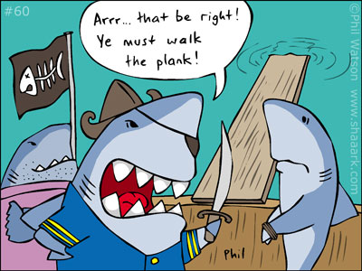 Shark cartoon pirate walk plank